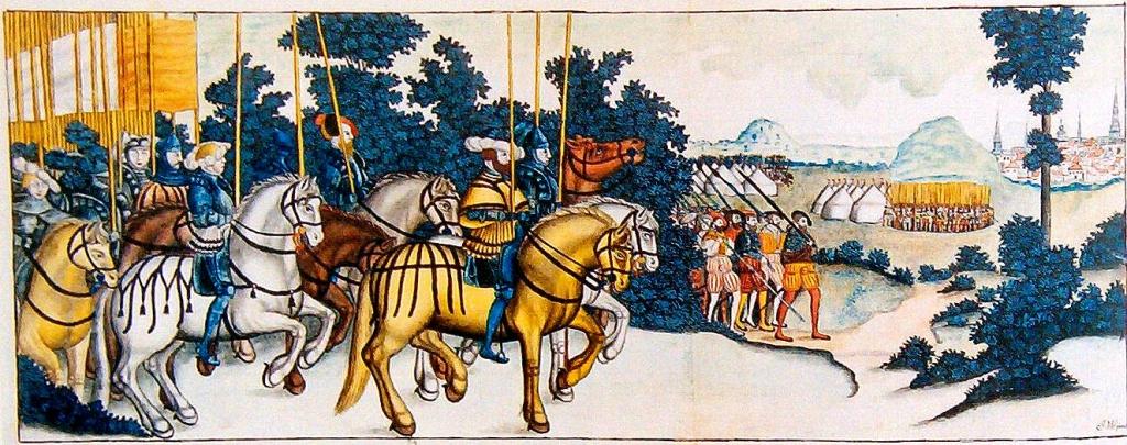 Die schwedische Armee unter Gustav Vasa zieht gegen den Dacke-Aufstand. Quelle: Wikipedia